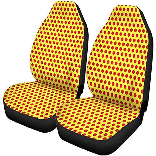 XZfly autostoelhoezen geel gestippeld pop-patroon symbolisch van de jaren 60 naadloos herbruikbare set met 1 beschermers auto fit voor auto