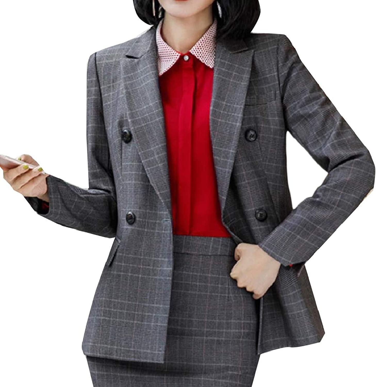 TaoNice Women Plaid DoubleBreasted Office Lapel Suit Jacket Blazer Coat