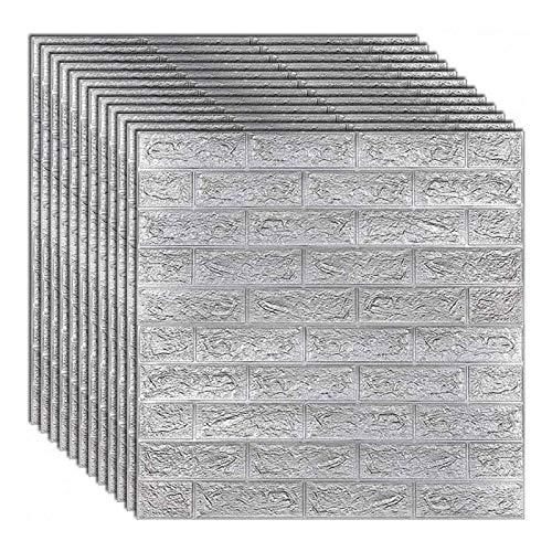 3D-Wandaufkleber und -paneele, Wanddekoration mit grauem Backstein-Textur-Effekt, Tapete für Heimdekoration, wasserdichte selbstklebende selbstgemachte Backstein-Wandaufkleber für Heimwer(Size:30pcs)