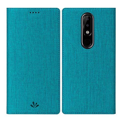 DDJ Nokia 5.1 Plus Hülle, Wasserdicht PU Leder Flip Klappbares Case Cover Standfunktion Kartenfach TPU Stoßstange Wallet Holder Schutzhülle Handyhülle für Nokia 5.1 Plus (Blau)