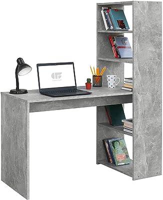 COMIFORT Bureau avec étagère - Table d'étude Moderne et Minimaliste à Armature Ferme avec 4 étagères spacieuses et volumineuses, Couleur Stone