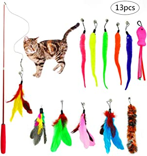PiXiu-XP 13 pcs Retractable Cat Toys Interactive Feather Teaser Wand Toy Set,Included 1 Wands & 12 Refills Feathers Birds Worms Fish Catcher for Cats and Kitten