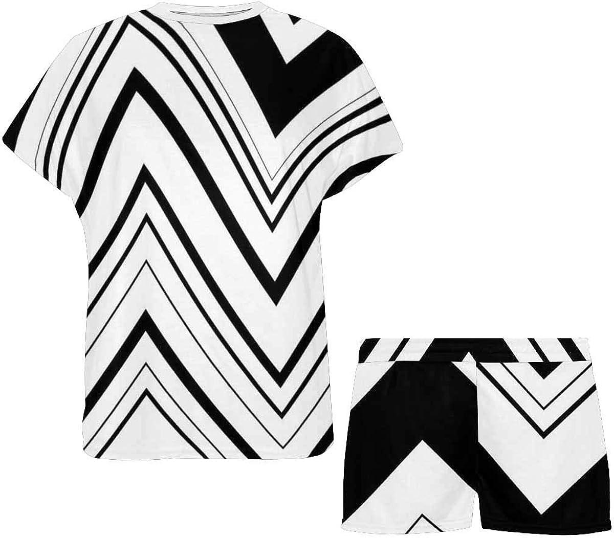 INTERESTPRINT Zigzag Pattern Women's Pajamas Short Sets Round Neck Short Sleeve Sleepwear