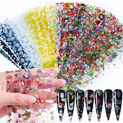 50 Sheets Christmas Nail Foil Transfers Stickers Winter Snowman Snowflake Christmas Tree Sugar Deer Decals for Women Nail Art Design Decoration Manicure Supplies