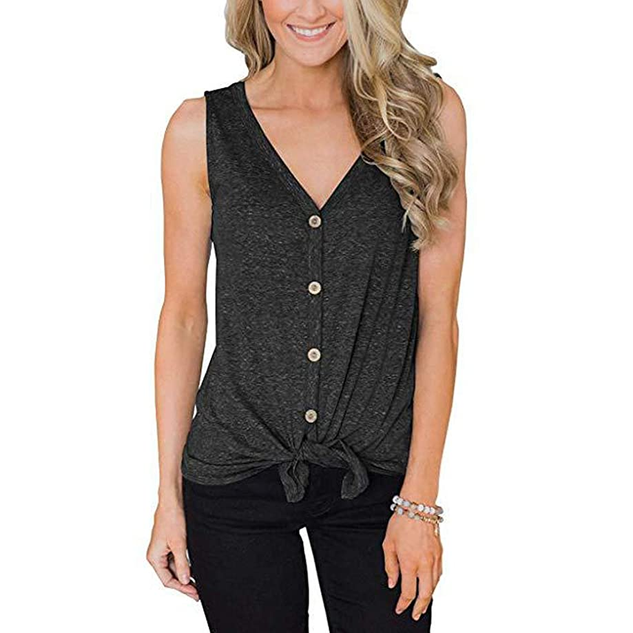ZSIIBO Women's V Neck Front Tie Knot Button Up Tank Tops Casual Sleeveless Shirts Loose Vests