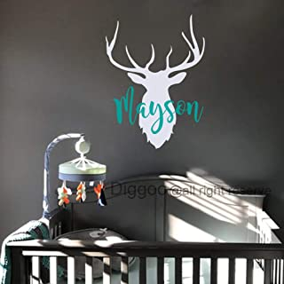 Personalized Name Wall Decal Deer Head Wall Vinyl Sticker Hunting Antlers Wall Decal Woodland Nursery Decor (30