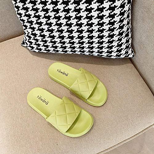 HUSHUI Zapatillas Baño de Estar por Casa Verano,Zapatillas de baño Planas para baño, Sandalias de Interior para el hogar-Green_40-41,Masajes Playa Chanclas Sandalias