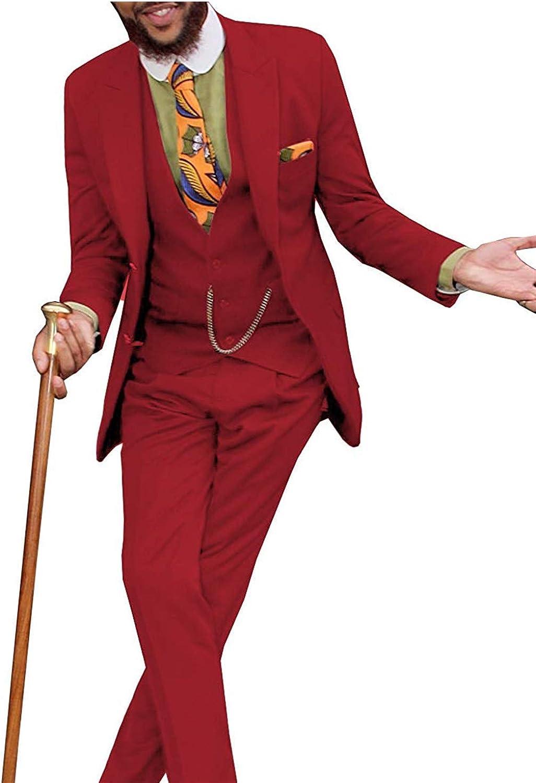 Men's Suit Slim Fit 3 Piece Suit Two Button Tuxedo Wedding Suit Blazer Jacket Vest & Pants