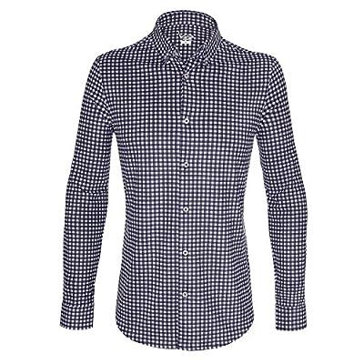 EAGEGOF Men's Regular Fit Long Sleeve Gingham Shirt Plaid Dress Shirt Polo Shirt Dry Fit Button-Down Collar