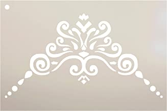 Border Scroll - Filigree Corner Embellishment Stencil by StudioR12   Reusable Mylar Template   Use to Paint Wood Signs - Furniture - Accents - Cabinets - DIY Home Decor - Select Size (9
