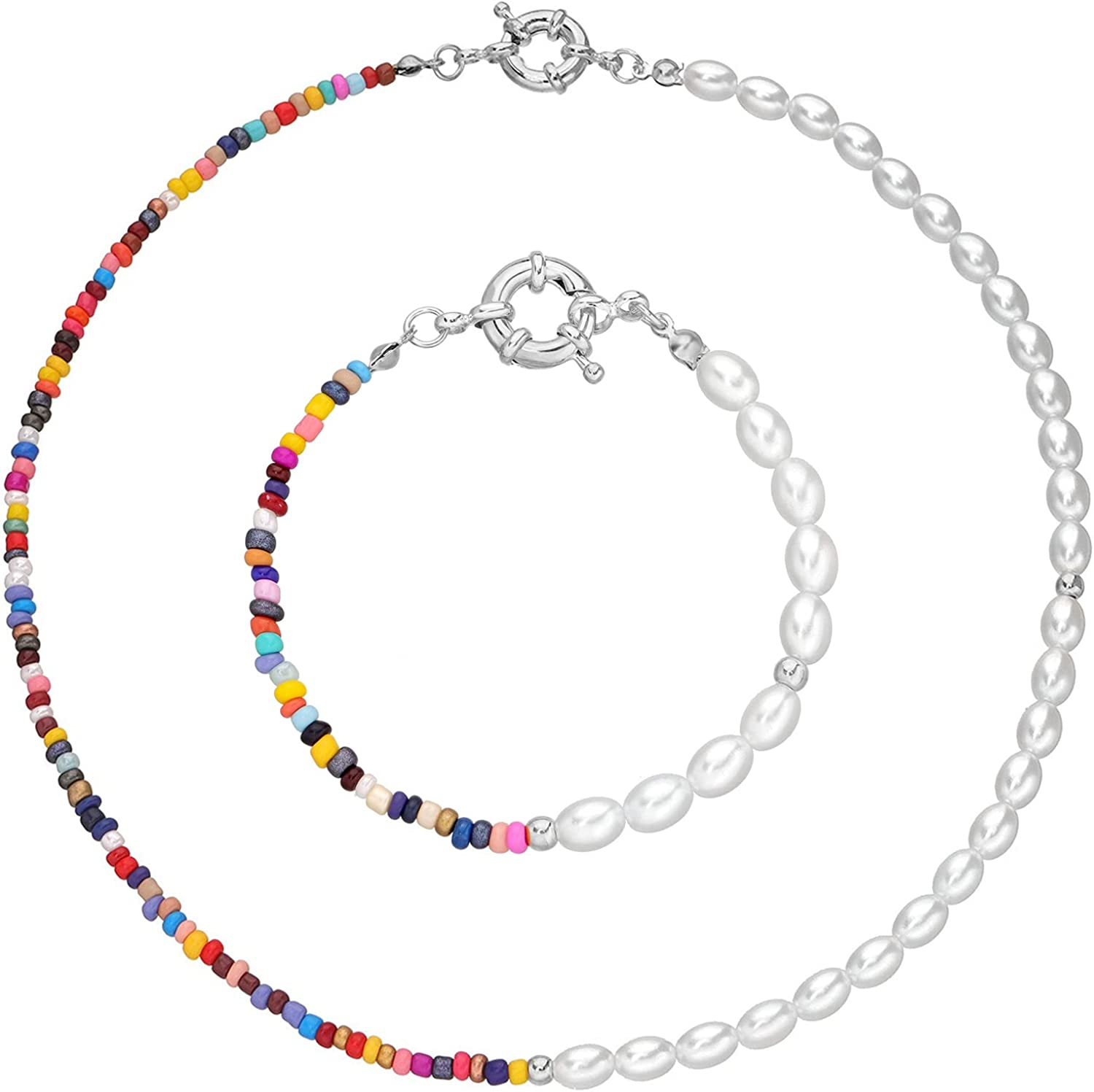 caiyao Bohemian Bead Imitation Pearl Link Chain Choker Necklace and Bracelet for Women Girls Handmade Colorful Seed Beaded Stackable Birthday Charm Jewelry Set