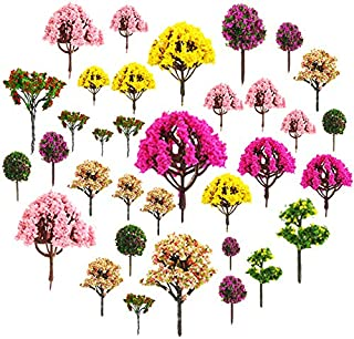 About 30pcs Mixed Model Trees 1.5-5 inch(4 -12 cm), Diorama Models, Model Train Scenery, Architecture Trees, Model Railroad Scenery with No Stands
