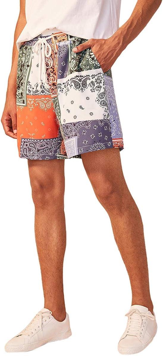 Romwe Men's Patchwork Print Swim Trunks Shorts Lightweight Gym Workout Shorts with Pocket