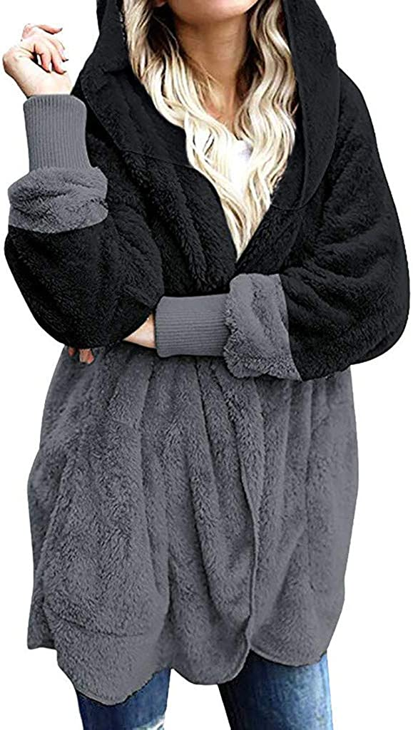 KPILP Damen Jacke Plüsch Herbst Winter Mantel Warm Plüschjacke mit Kapuze Langarm Cardigan Strickjacke Übergangsjacke Teddy-Fleece Kapuzenjacke Trenchcoat E-schwarz