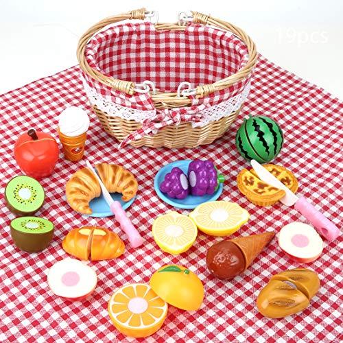 BeebeeRun Picknickkorb Spielzeug aus Holz, Küchenspielzeug Kinder, Kinderküche Zubehör, Schneiden Sie Obst Dessert, Kinder Rollenspiel Lernspielzeug Geschenk für Mädchen Jungen ab 3 Jahre