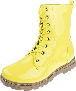 Nature Breeze Gwen 01 HI Womens Patent Milatary Lace Up Combat Boots
