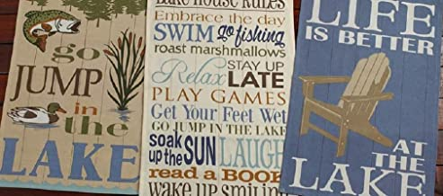 DII Design Imports Lake House Kitchen Dish Towels Set of 3 ~ Go Jump In The Lake ~ Lake House Rules ~ Life Is Better At The Lake