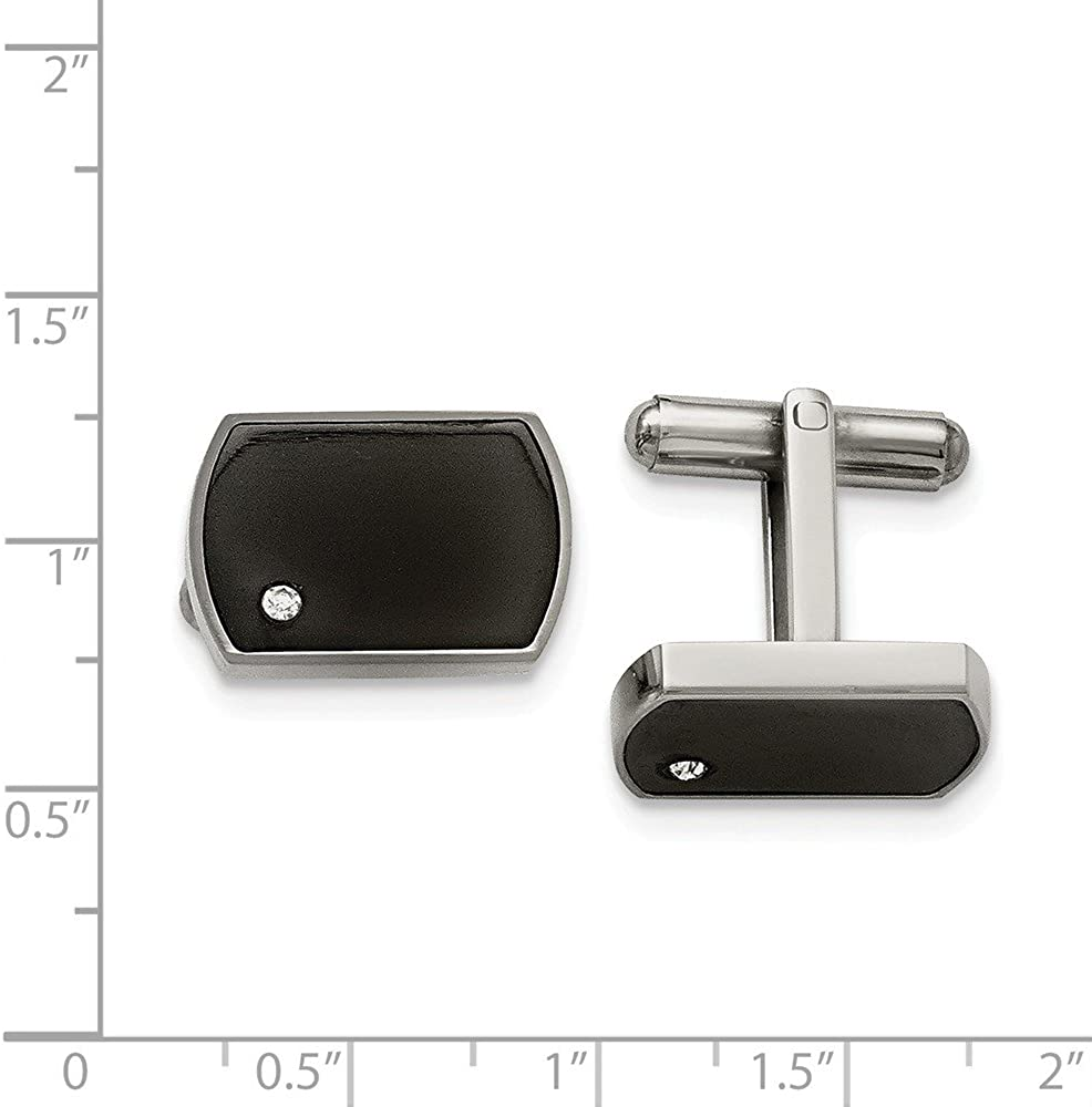 FB Jewels Solid Stainless Steel Polished Cream Black Enameled Cuff Links