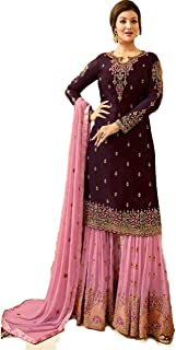 Generic GEORGETTE FABRIC EMBROIDERED AND DIAMOND WORK PLAZZO SUIT