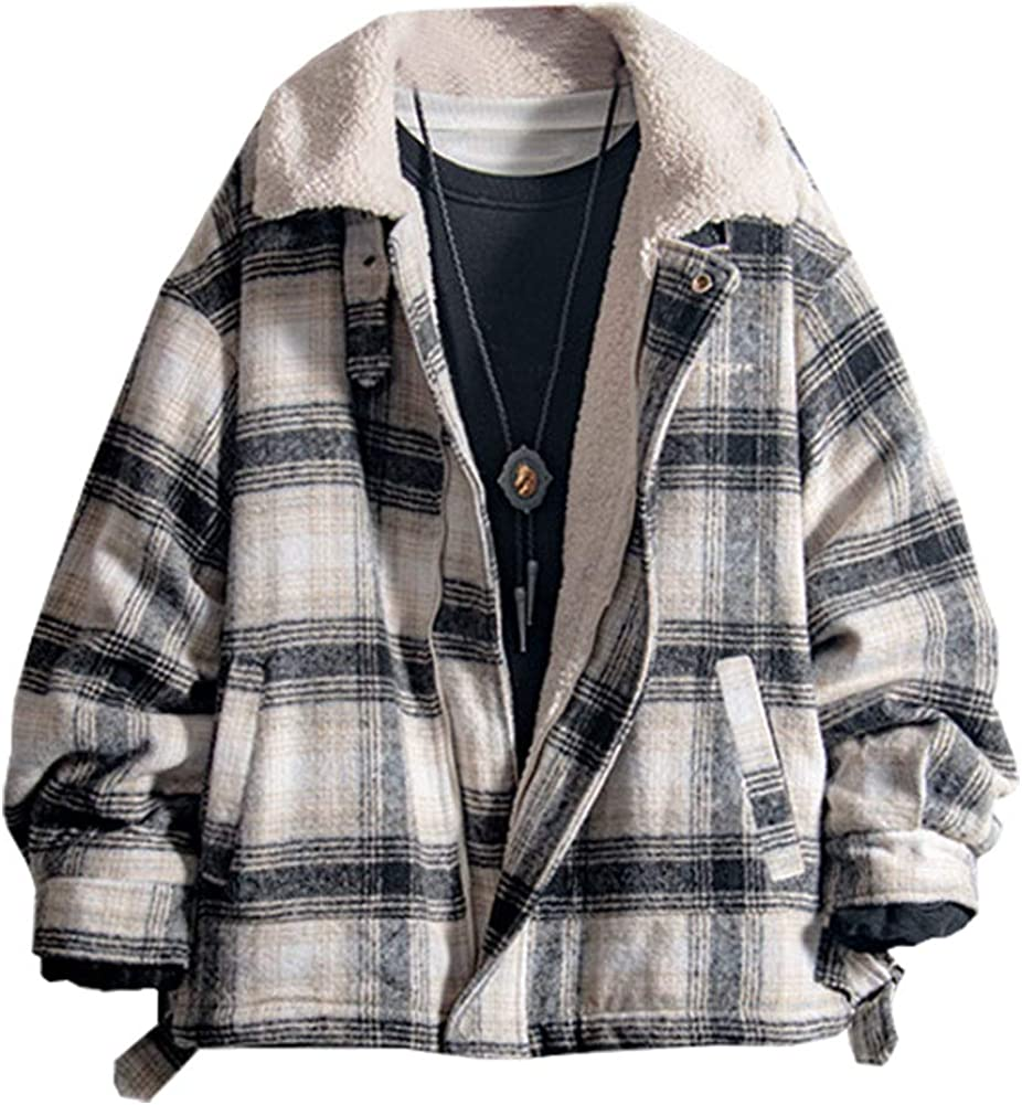 LifeHe Men's Winter Plaid Sherpa Fleece Lined Jacket Fur Lining Windbreaker Trucker Jackets