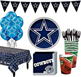 Party City Dallas Cowboys Super Party Supplies for 18 Guests, Include Plates, Napkins, Table Cover, and Balloons