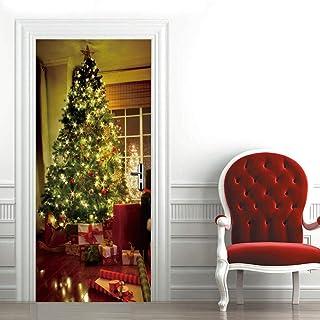 XKSJWY Adesivi per Porte in 3D Vacanza Regalo Albero di Natale Carta da Parati Porta Autoadesiva Adesivo Murale PVC Art De...