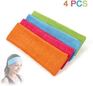 ewinever(R) 4PCS Women Cotton Headbands Sweatbands for Gym Workout Yoga