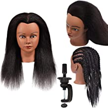 Hair Mannequin Head with 100% Real Hair Doll Head for Hair Styling Salon Training Head with Stand Cosmetology Mannequin Ma...