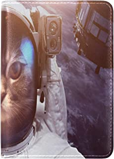 Zlu Astronaut-cat-outer-space-against-backdrop Leather Passport Holder Cover Case Travel One Pocket