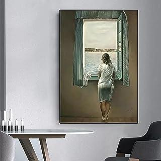 Wall Art Canvas dekorativ målning Kvinnan vid fönstret Kanvasmålning Affisch och tryck Väggkonst Bilder Vardagsrumsdekor V...