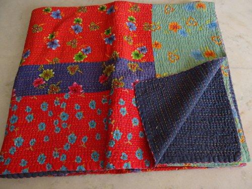 Tribal Textiles asiatiques Imprimé patchwork multicolore Reine Couvre-lit King taille housse couette lit couverture, X, X, X, Parure de lit Bohème x Taille 228,6 x 274,3 cm 1087