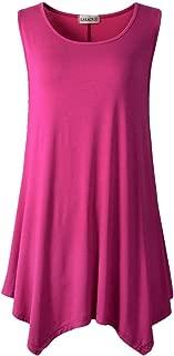 LARACE Lanmo Women Plus Size Solid Basic Flowy Tank Tops Summer Sleeveless Tunic (2X, Fushia)