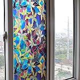 Vinilo electrostatico autoadhesivo modelo vidriera Tiffany para ventanas, puertas, mamparas, alacenas, armarios, bodegas de CHIPYHOME