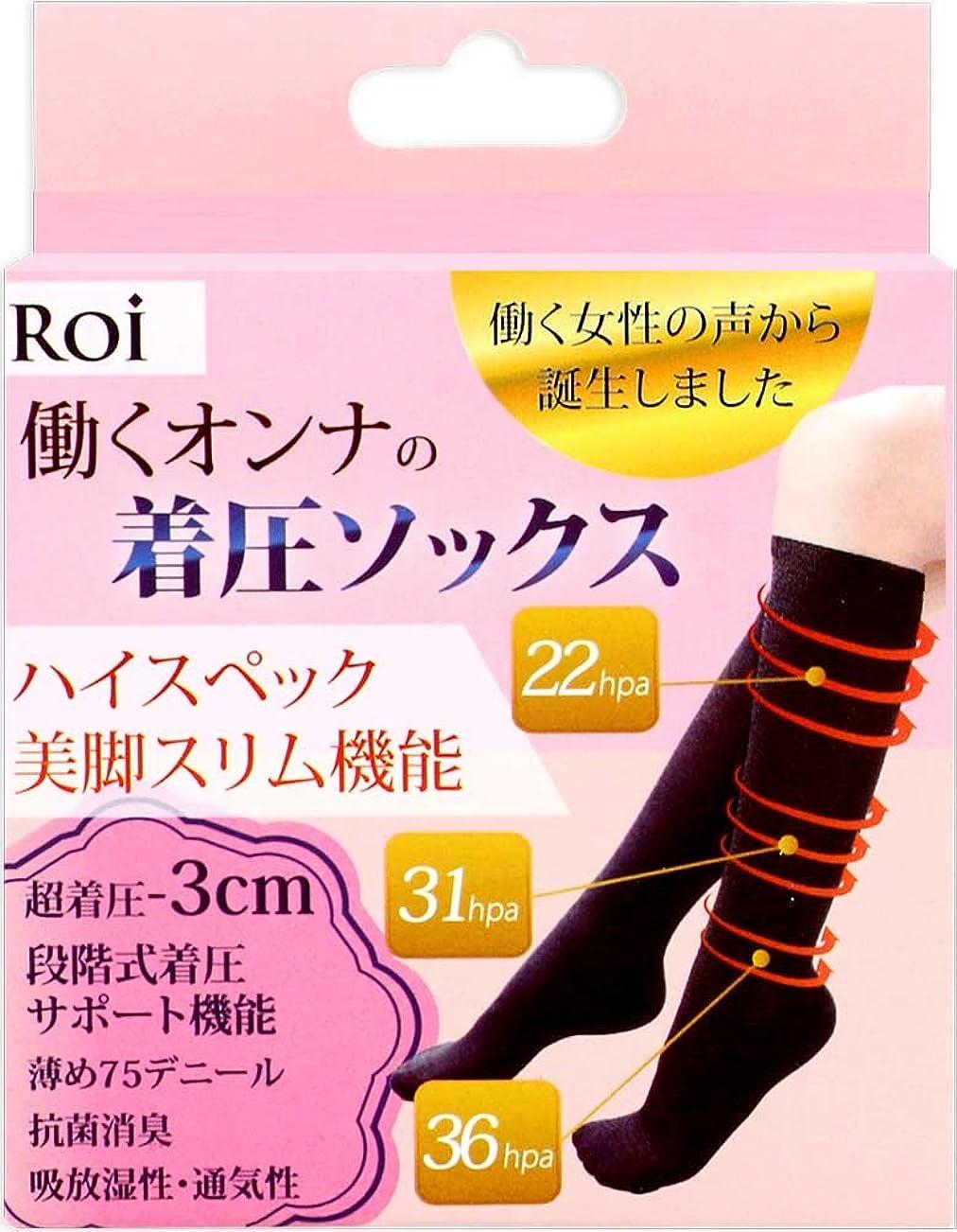 調整可能合法彫刻家(ロイ)Roi 『働く女の 着圧ソックス 』強着圧-3cm ソックス 段階式着圧サポート機能 靴下 (L~LL[23.5~25cm])