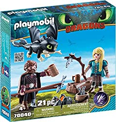 Features Hiccup and Astrid Baby dragon has movable wings Features LED campfire Accessories included Baby dragon can hold accessories in its mouth