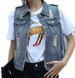 Fesky Womens Blue Denim Vest Jean Waistcoat Vest Distressed Jacket for Women Girls Sleeveless
