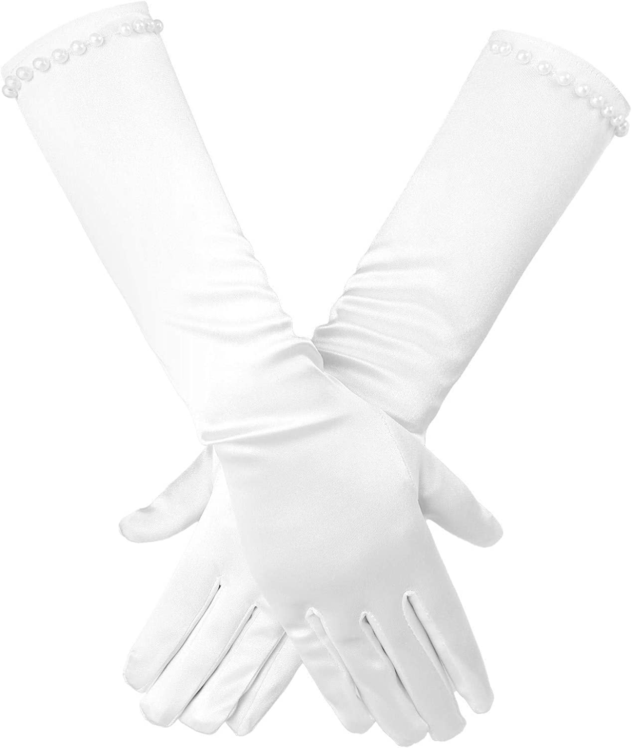 YOOJIA Kids Girls First Communion Gloves Flower Girl Special Occasion Gloves Beaded Formal Long Gloves