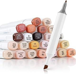 24 Colors Skin Tone Pens Dual Tip Twin Marker Set, Artist Permanent Sketch Manga Marker Pens for Portrait Illustration Drawing Coloring - Alcohol Based Art Markers