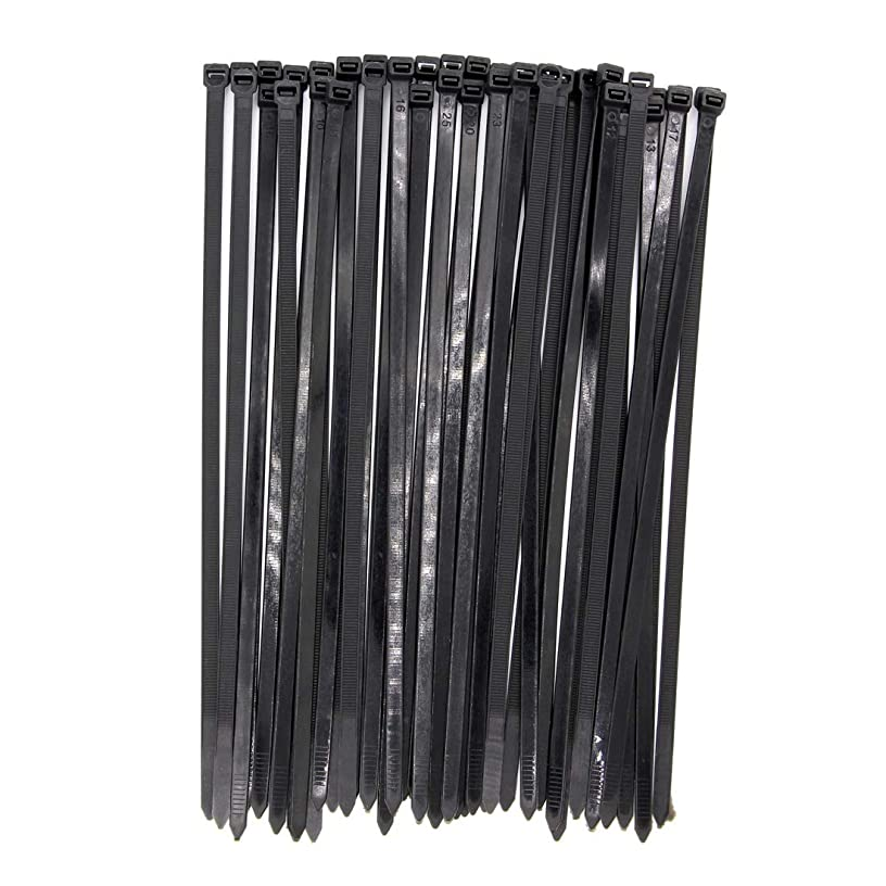 Wide Large 120LBS Tensile 12 Inch Heavy Duty Black Industrial Durable Cable Ties 50 Pack