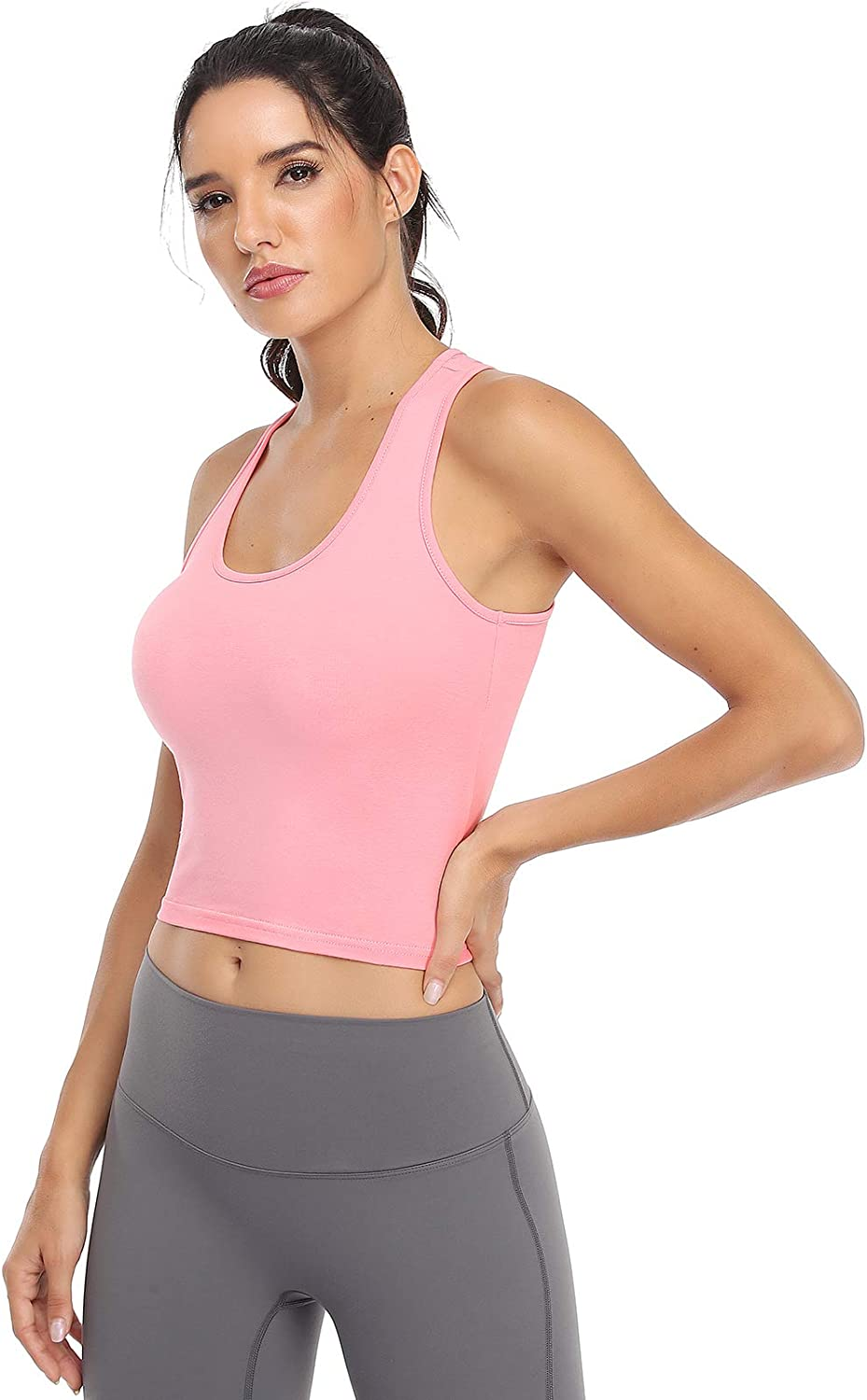 Sports Crop Tank Tops for Women Cropped Workout Tops Racerback Running Yoga Tanks Cotton Sleeveless Gym Shirts 3 Pack