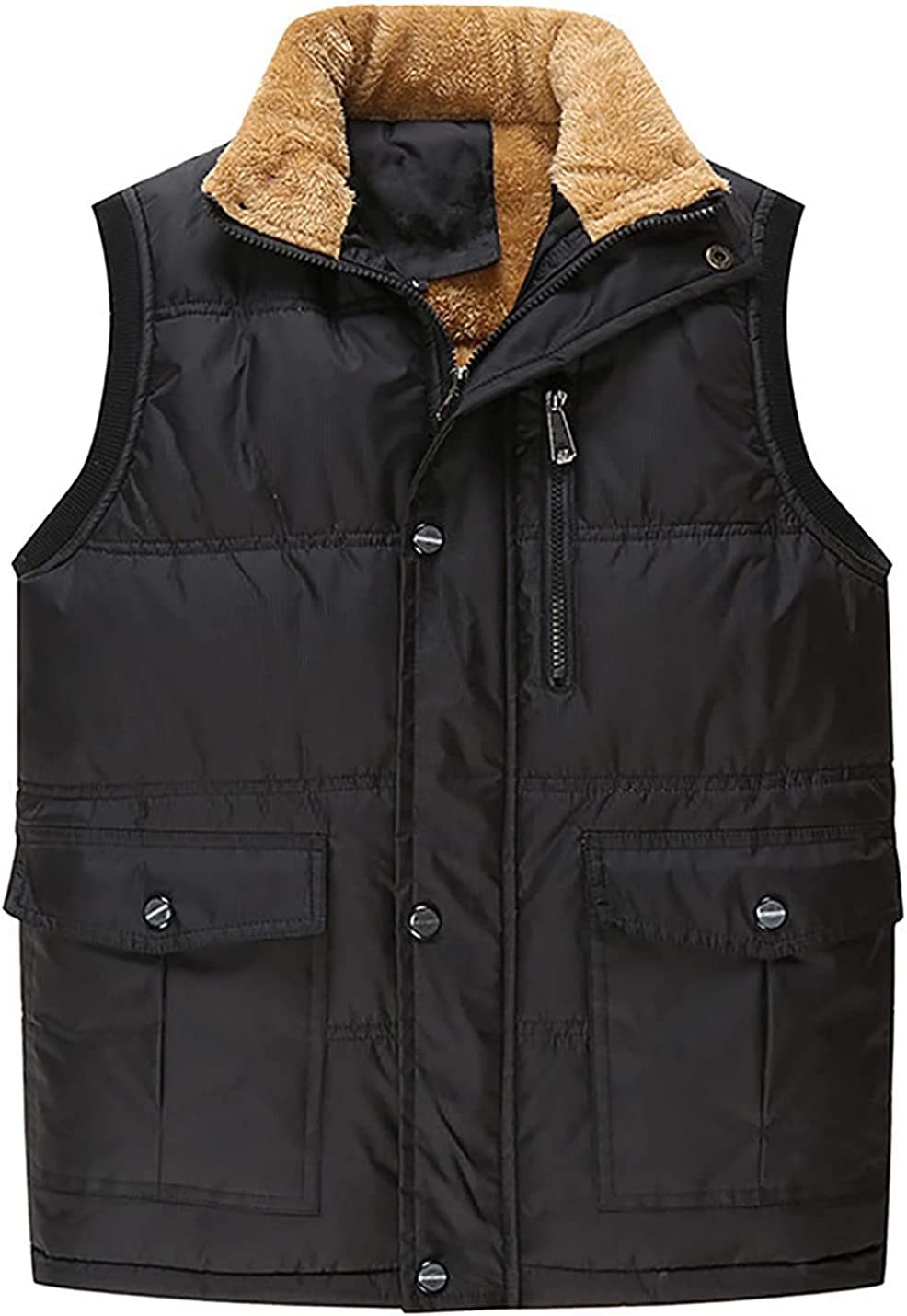 PEHMEA Men's Winter Warm Outdoor Padded Puffer Vest Thick Fleece Lined Safari Work Vests