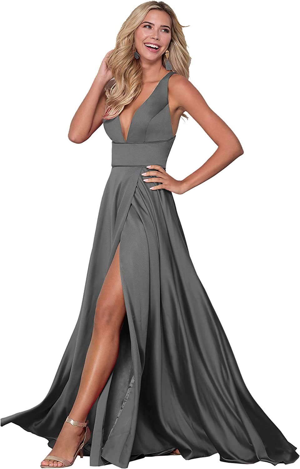 Beauty Bridal V Neck Split Prom Evening Dress for Women ALine Long Satin Formal Party Gown Z22