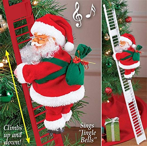 Christmas Climbing Santa Electric Santa Climbing Ladder to Tree, Santa Claus on Ladder with Music and Bag of Presents Tree Holiday Decor Wall Decoration Xmas Ornament Toys (65 cm, 2 PC R&W)