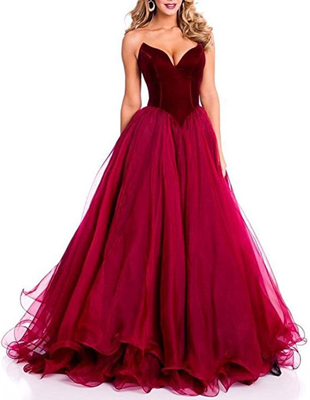 Homdor Long V Neck Strapless Evening Gowns for Women Sleeveless Tulle Prom Dress