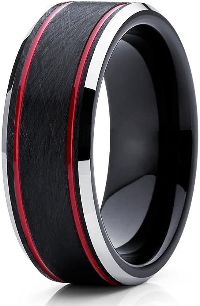 Red Tungsten Popular brand 55% OFF Wedding Band 8mm Ring Women Carbide Men