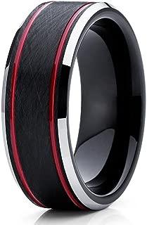 Red Tungsten Wedding Band 8mm Tungsten Carbide Ring Men & Women Black Tungsten Wedding Band Comfort Fit Ring