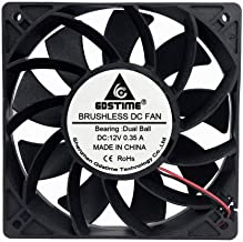 GDSTIME 120mm Case Fan, Increase Air Pressure Fan, 120mm x 25mm 12V Dc Brushless Cooling Fan Dual Ball Bearings Long lifespan