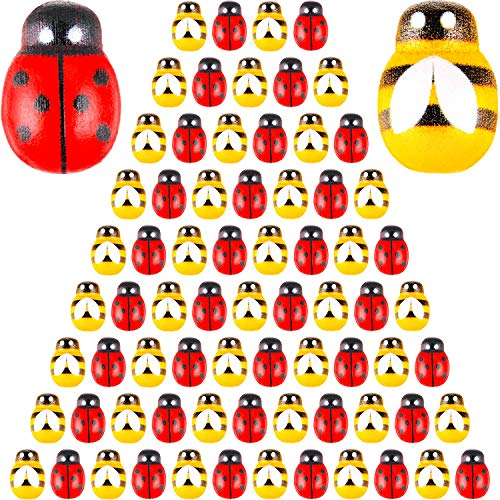 WILLBOND 400 Pieces Wooden Bees Ladybugs Embellishments Self-Adhesive Wood Bumble Bees Tiny Painted Bee Flatback Stickers for DIY Craft Party Decoration