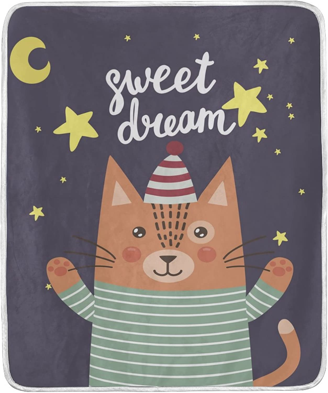 Hengpai Home Decor Print Cat Soft Warm Blanket for Bed Couch Sofa Lightweight Travelling Camping 50x 60 Inch Throw Size for Kids Girls Boys WOM