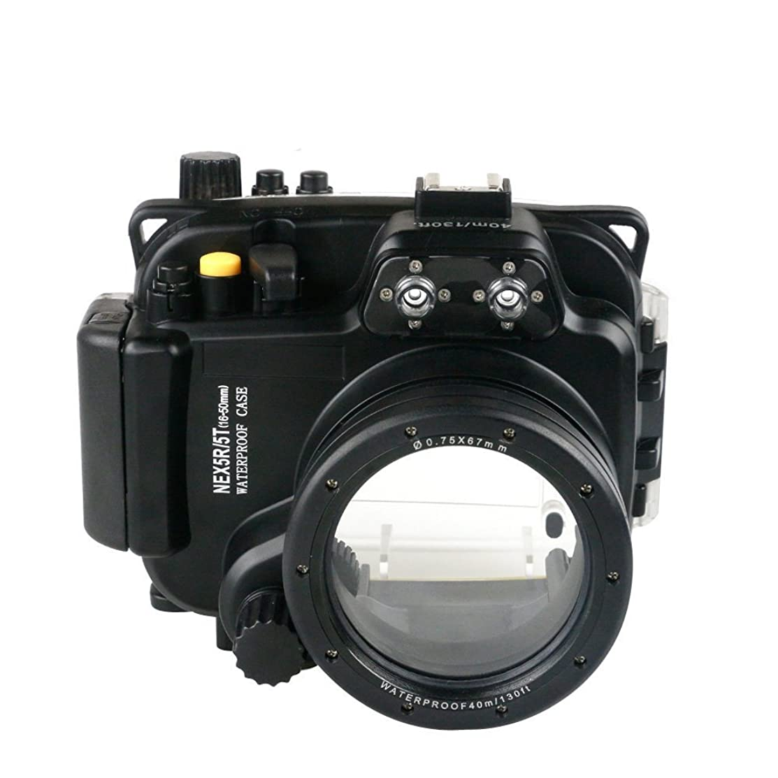 取り付けディレイ扱うSea Frogs Sony Nex 5R/5T 用 水中カメラケース アンダーウォーターハウジング 防水性能40m 防水プロテクター 防水ケース 防水ハウジング 保護ケース 防水プロテクター 水中撮影用 国際防水等級IPX8フィルター付き ブラック